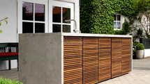 Herrenhaus Cubic Outdoorküche aus Holz und Beton (ID:077)