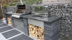 Einbau Plancha Grill in Outdoor Küche