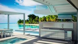Fesfoc Design Outdoor Küche mit Outdoor Kühlschrank und Edelstahl Einbaugrill