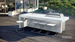 Fesfoc Luxus Outdoor Küche mit Natursteinplatte und Edelstahl Einbaugrill