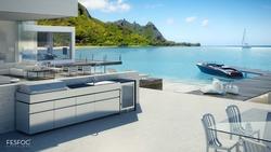 Fesfoc Edelstahl Outdoor Küche mit Einbaugrill, Spüle und Kühlschrank