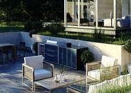 Outdoor Küche ProFresco Proline 6 Quatro mit BeefEater Proline Grill, Kühlschrank und Spüle