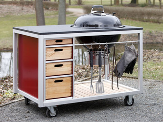Proks Mobile Outdoor Küche mit Holzkohle Rundgrill