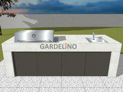 vivandio Beton-Outdoor Küche Pure mit Grill und Spüle