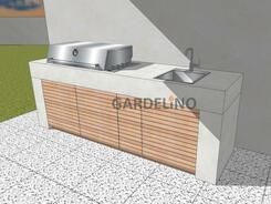 Outdoor Küche Pure aus Beton mit Einbaugrill und Spüle