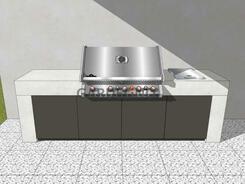 Beton-Outdoor Küche  Pure von vivandio mit Grill und Kochfeld