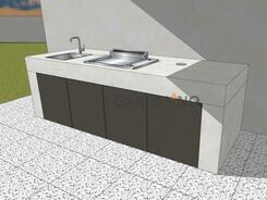 Beton Outdoor Küche Pure von vivandio mit Plancha Grill und Spüle
