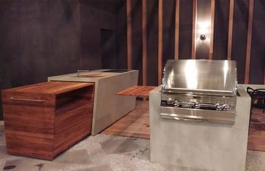 Ausziehbare Beton Outdoor Küche mit Holz