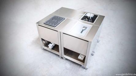 CUN Outdoorküchen Module aus Edelstahl mit Gaggenau Kochfeldern