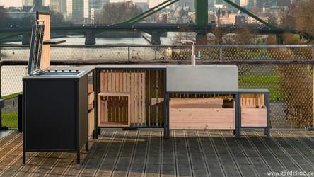 Outdoor Cooking auf der Terrasse mit Grill Kitchen Block System Outdoor Küche von Kaufmann Green