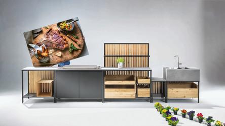 Modulare Outdoor Küche im modernen Design: Kaufmann Green Grillkitchen Block