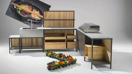 Outdoor Küche Grill Kitchen Block mit Spüle aus Keramikguss