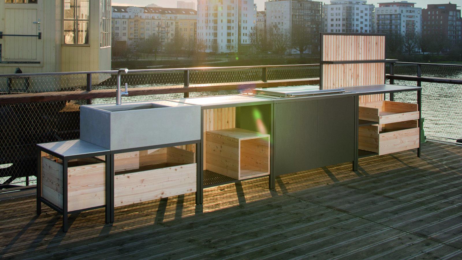 Outdoor Küche Block : Massive outdoor küche aus beton von wwoo bild schÖner wohnen