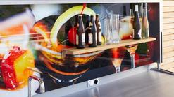 Open Air Outdoor Küche individuelle Rückwand mit Brett