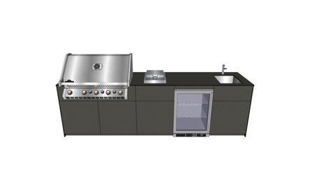 Cabinet Outdoor Küche mit Gasgrill, Kochfeld, Spüle und Külschrank in Anthrazit