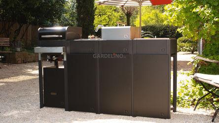 oneQ Outdoorküche mit Gasgrill und Holzkohlegrill