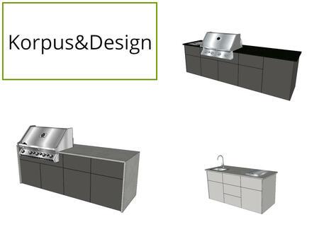 Korpus und Design der smarten Modul Outdoor Küche elements von vivandio