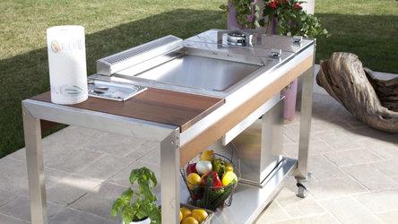 OASI Stahltisch mit Pla.net Einbau Plancha Grill und Seitenkochfeld