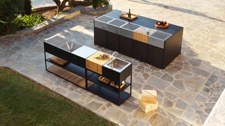 Röshults Open Kitchen Outdoorküche und Outdoor Kitchen Island in Anthrazit