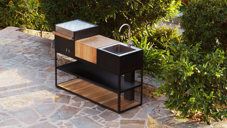 Open Kitchen Designer Outdoorküche mit Gasgrill, Schneidebrett und Spüle