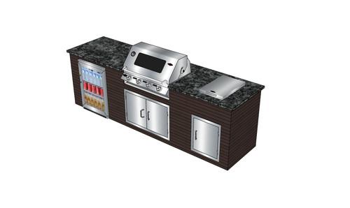 Nach der einfache Montage der Outdoor Küche müssen nur noch die gewünschten Geräte eingesetzt werden.