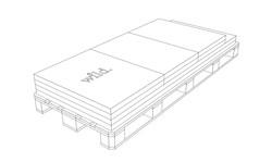 Die gewünschten Outdoor Küchen  Module werden auf einer Palette verpackt geliefert.