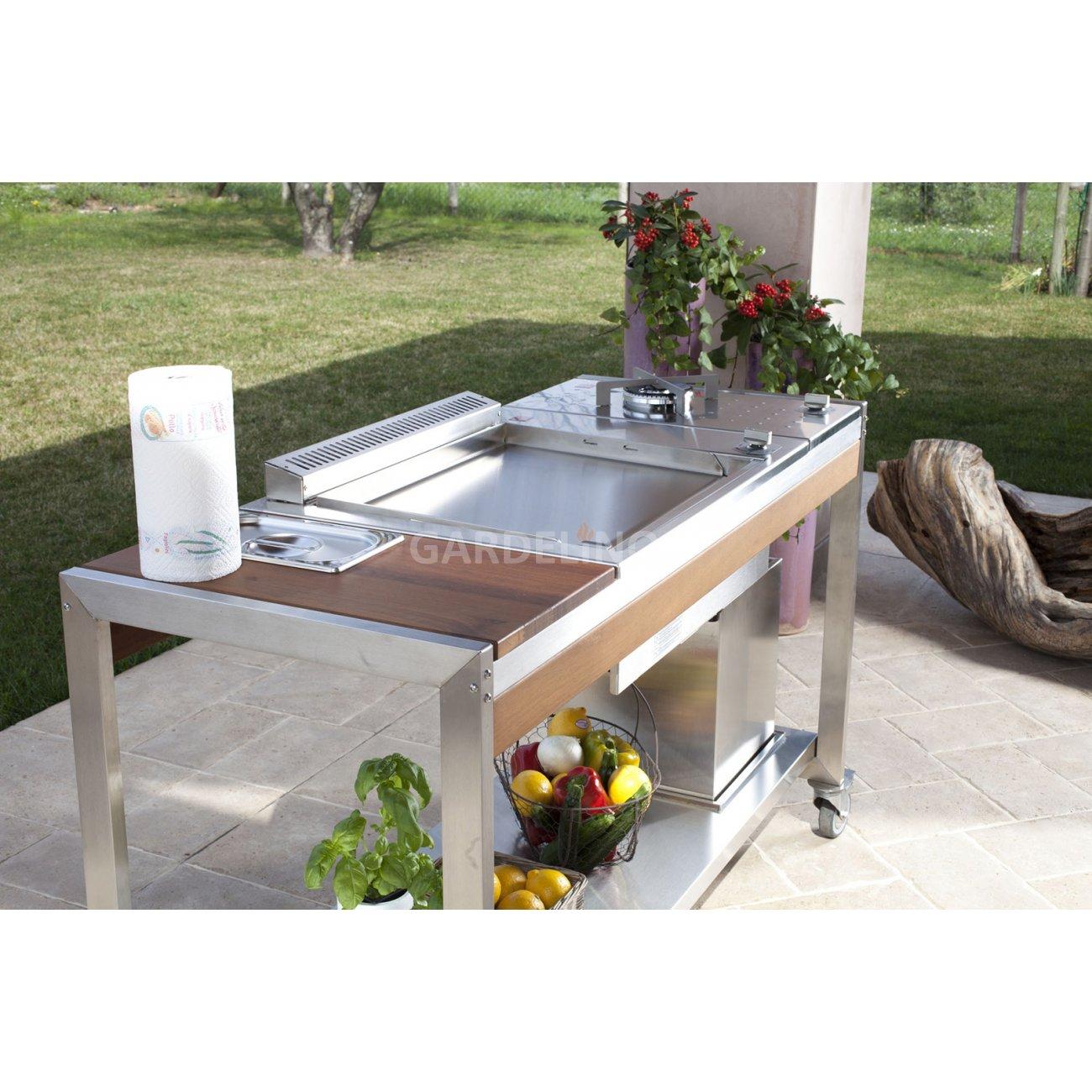 mobiler edelstahl tisch oasi 1400 von. Black Bedroom Furniture Sets. Home Design Ideas