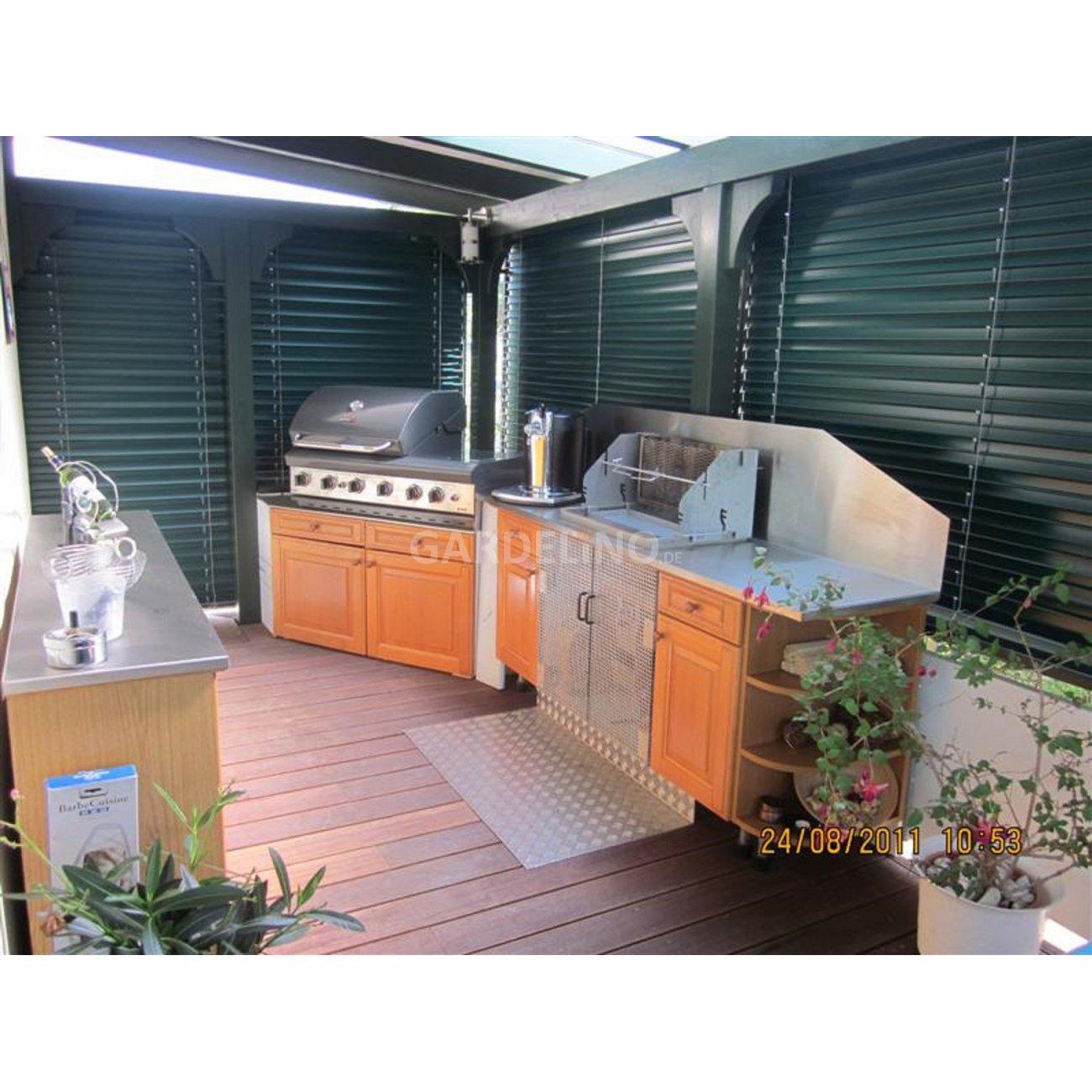 gartenk che mit gas einbaugrill und kohlegrill. Black Bedroom Furniture Sets. Home Design Ideas