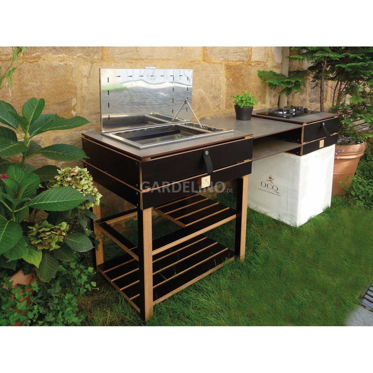 ocq gartenk che element mit plancha grill. Black Bedroom Furniture Sets. Home Design Ideas